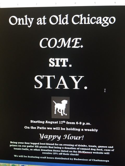 Yappy Hour with Old Chicago Pizza